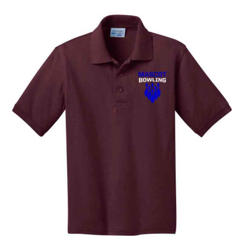 Youth Bowling Embroidered Jersey Polo Shirt