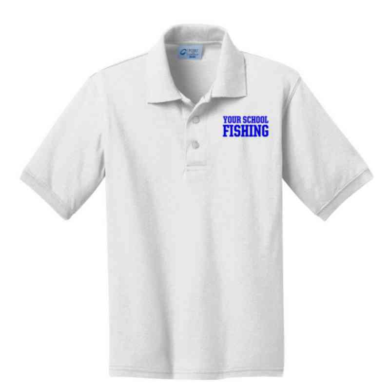Youth Fishing Embroidered Jersey Polo Shirt