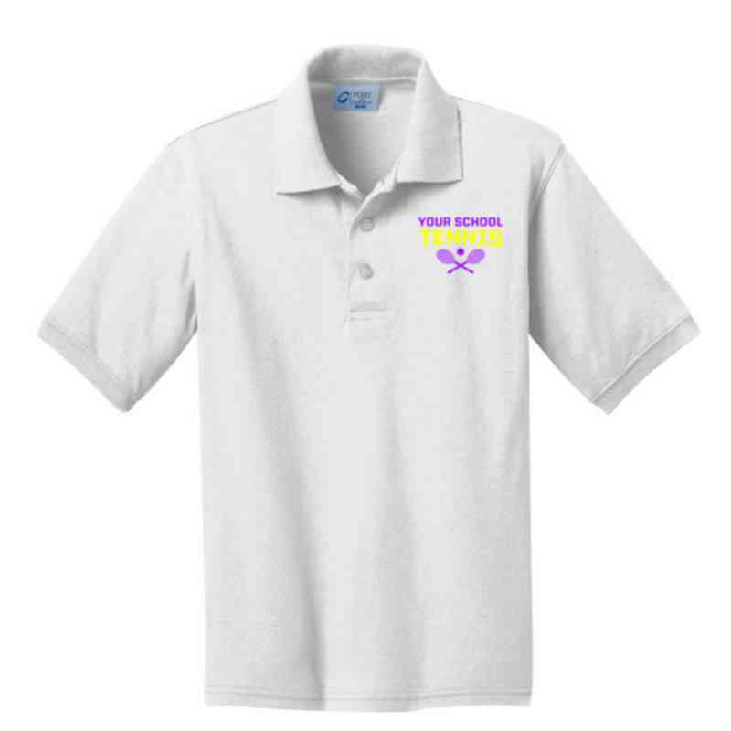 Youth Tennis Embroidered Jersey Polo Shirt