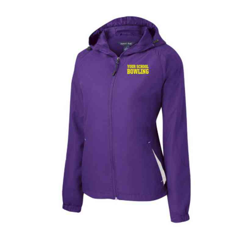 Women's Bowling Embroidered Lightweight Hooded Raglan Jacket