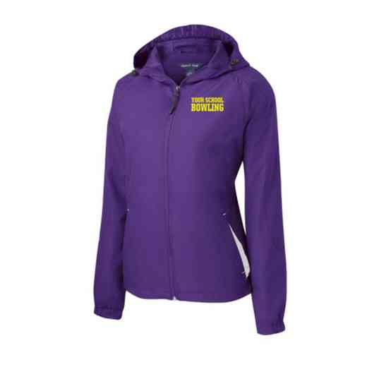 Women's Bowling Embroidered Lightweight Hooded Raglan Jacket