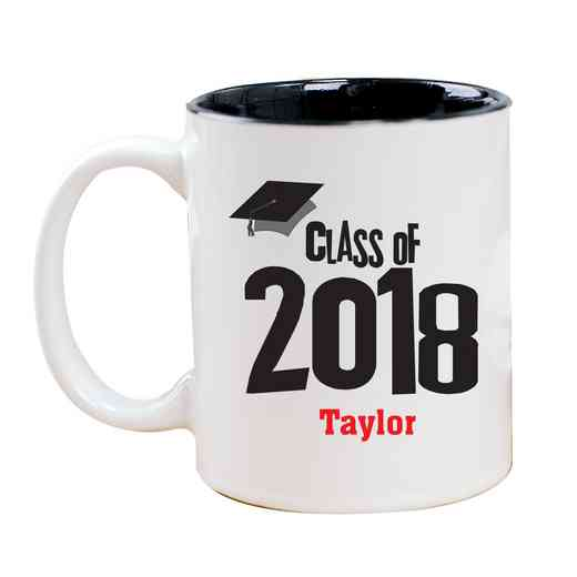 27790MBK: Two Toned BLACK Ceramic Mug grad cap