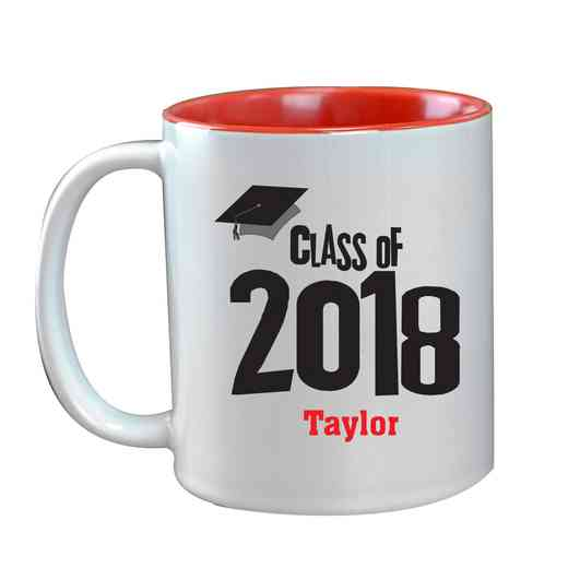 27790MRD: Two Toned RED Ceramic Mug grad cap