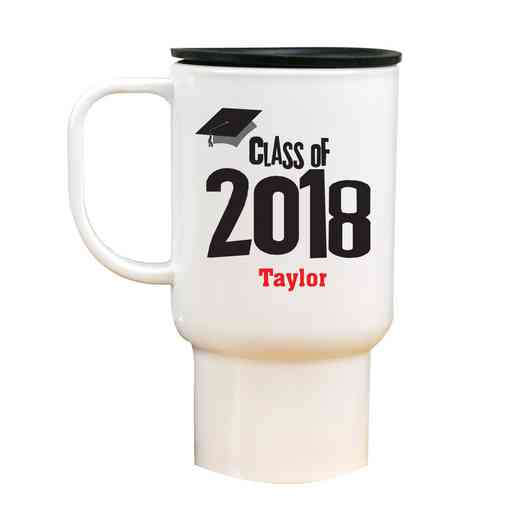 27790MT: White Polymer Travel Mug grad cap