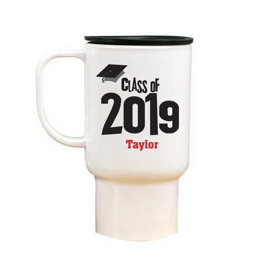27790MT: White Polymer Travel Mug grad cap
