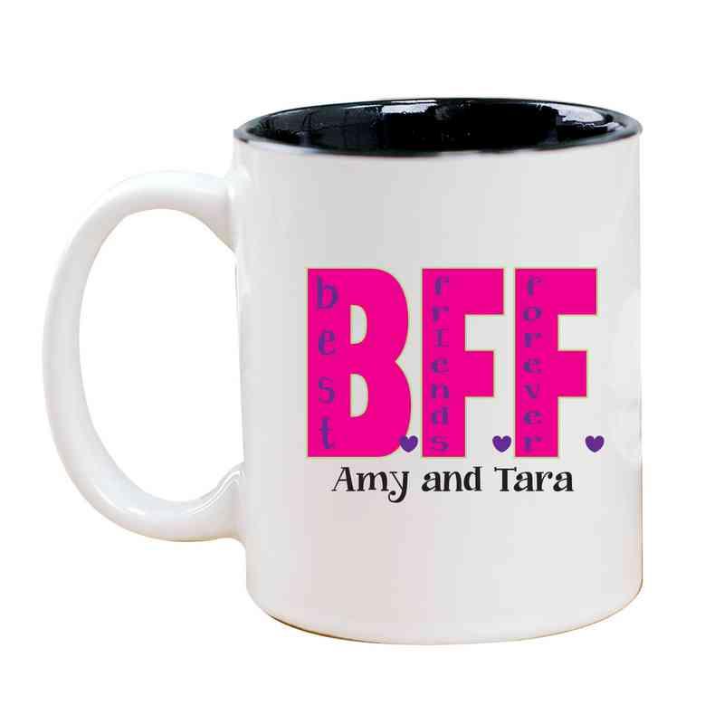 262170MBK: Two Toned BLACK Ceramic Mug BFF