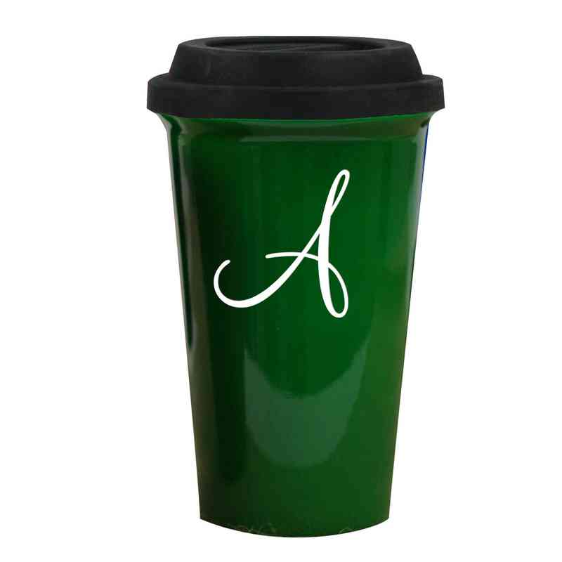 running latte green personalized travel mug