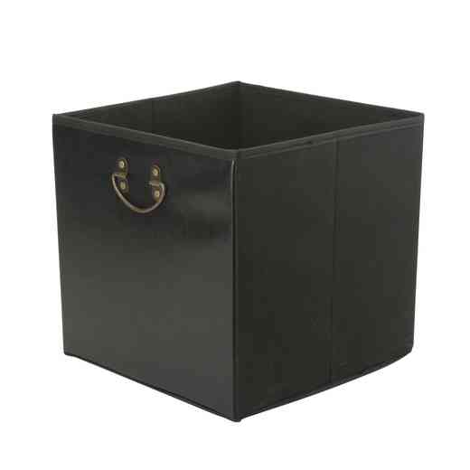 25480-BLACK: FauxLeatherSTRGECube W/ Metal Handle