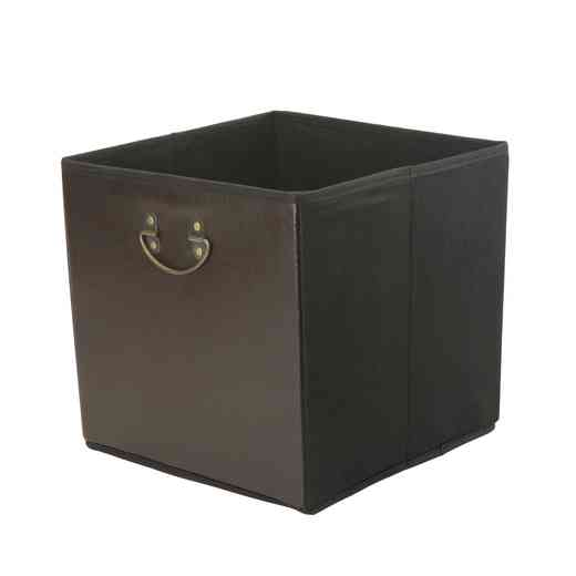 25480-CHOCOLATE : Faux Leather STRGE Cube W/ Metal Handle
