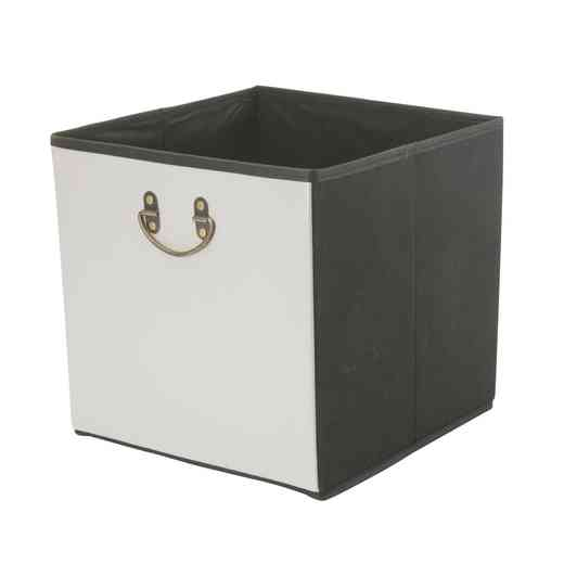 25480-GREY: Faux Leather STRGE Cube W/ Metal Handle
