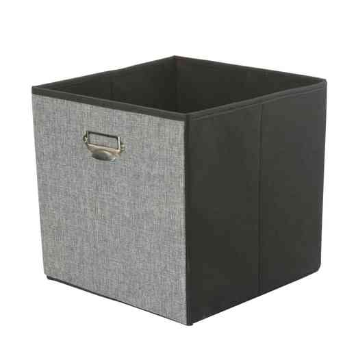 25481-GREY : Linen STRGE Cube W/ Name Plate 13x13x13