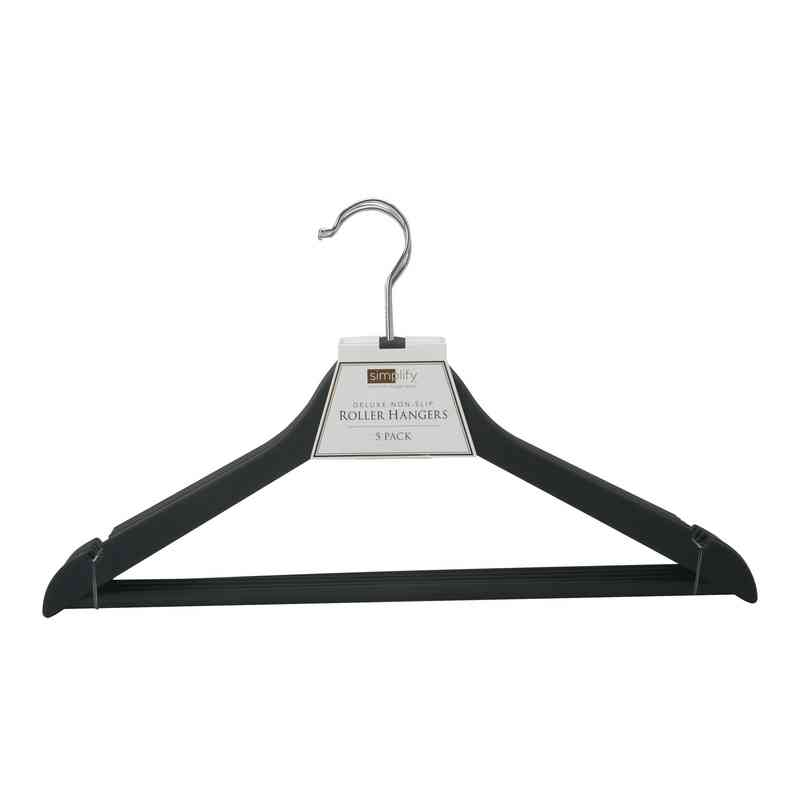 23185-BLACK : 3Pk Rubberized Wood-like Roller Hanger
