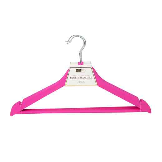 23185-FUCHSIA: 3Pk Rubberized Wood-like Roller Hanger