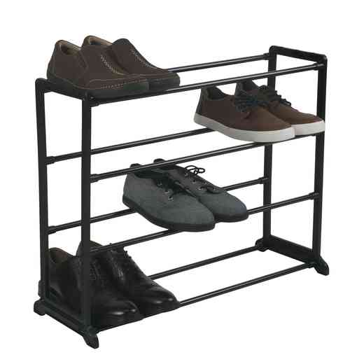 23202-BLACK : 12 Pair Shoe Rack - 4 Tiers - Black