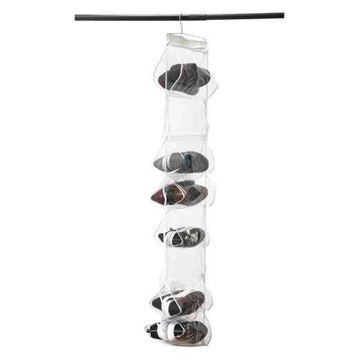 26370: Crystal Clear PVC 18 Shelf Shoe Organize