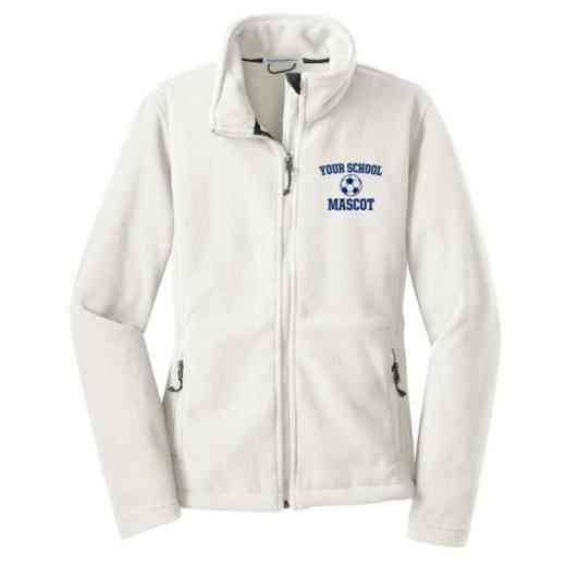 Soccer Embroidered Women's Zip Fleece Jacket
