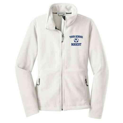 Soccer Embroidered Women's Zip Fleece Jacket