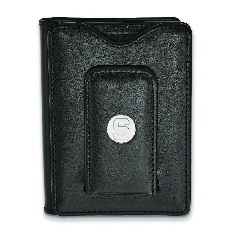 SS013MIS-W1: 925 LA Michigan State University Blk Lea Wallet