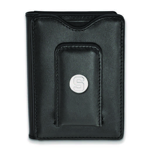 SS013MIS-W1: 925 LA Michigan State University Blk Lea Wallet