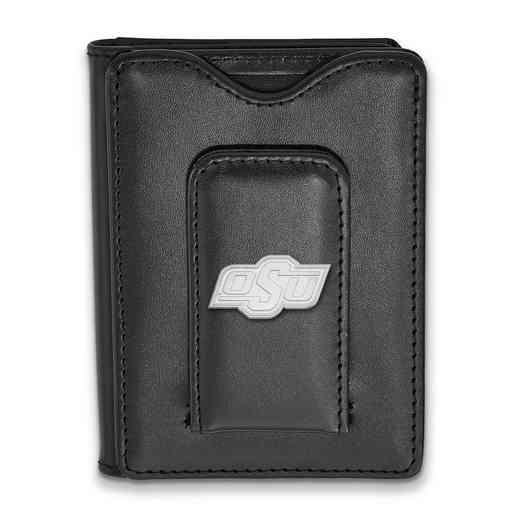 SS012OKS-W1: 925 LA Oklahoma State University Blk Lea Wallet