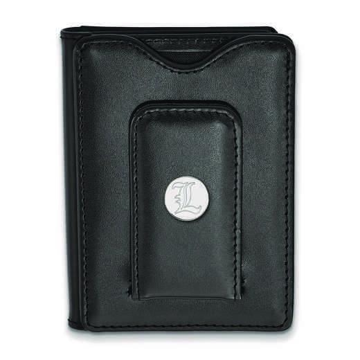 SS073UL-W1: 925 LA University of Louisville Blk Lea Money Clip W