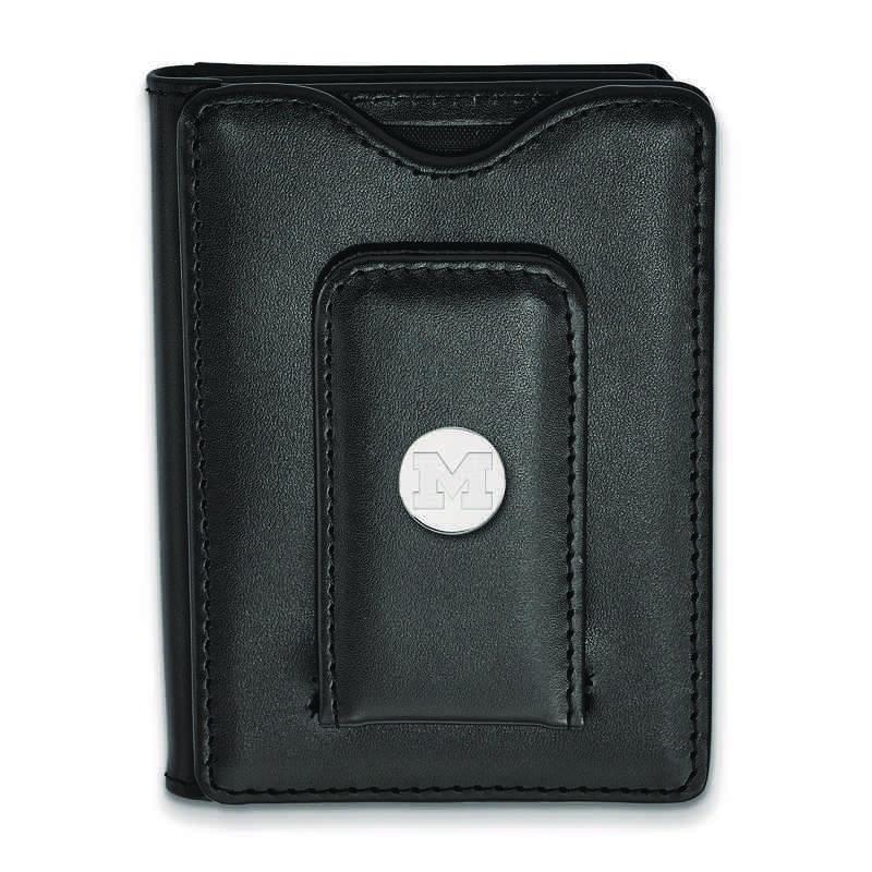 SS012UM-W1: 925 LA Michigan (Univ Of) Blk Lea Wallet