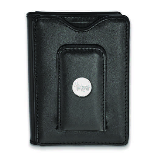 SS080UNE-W1: 925 LA University of Nebraska Blk Lea Wallet
