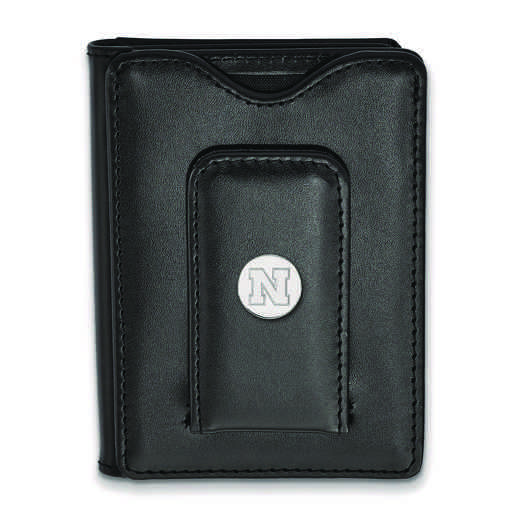 SS087UNE-W1: 925 LA University of Nebraska Blk Lea Wallet
