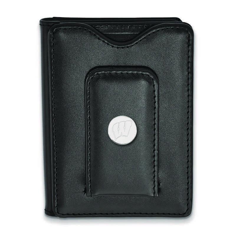 SS013UWI-W1: 925 LA University of Wisconsin Blk Lea Money Clip Wa