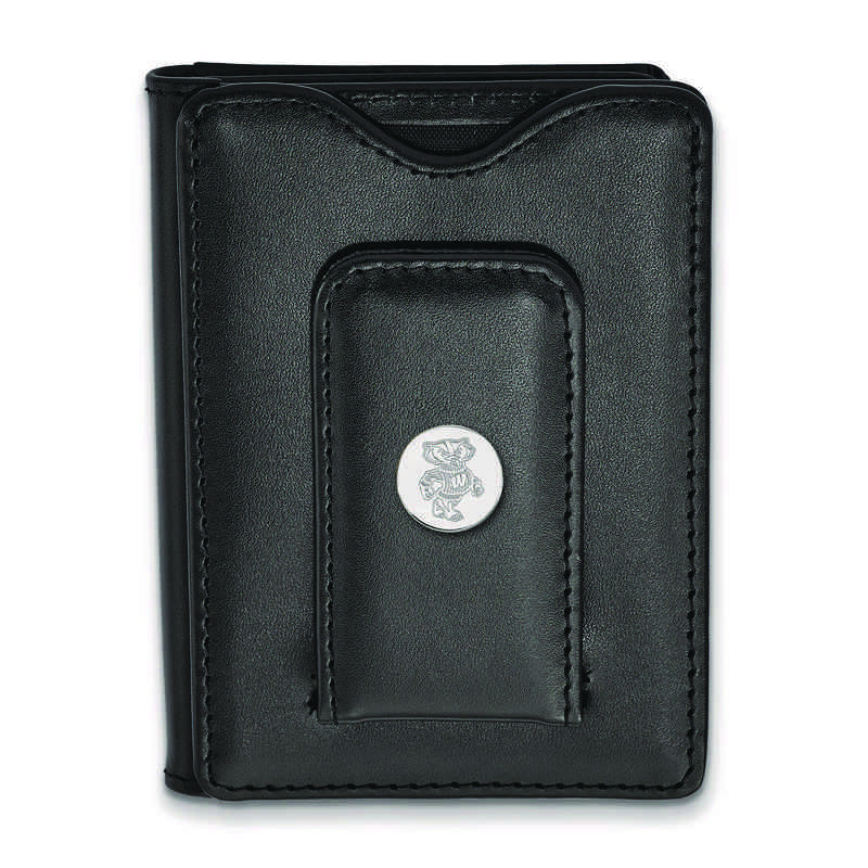 SS053UWI-W1: 925 LA University of Wisconsin Blk Lea Money Clip Wa