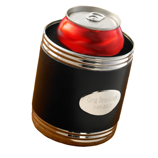 GC483: Personalized Black Leather Can Cooler