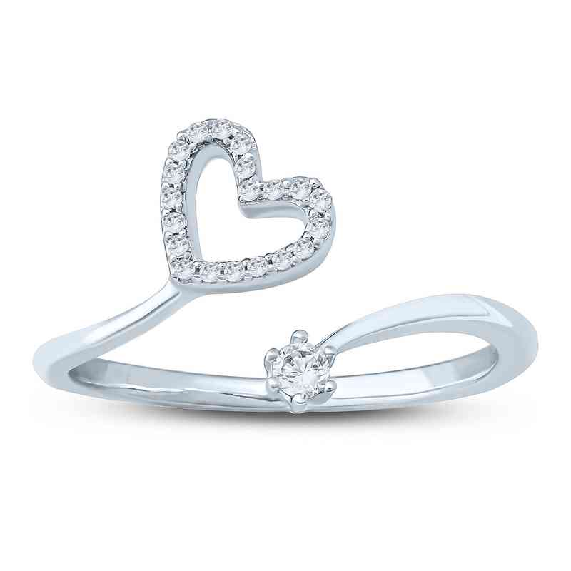 1/10 CT. T.W. Diamond Heart Ring in Sterling Silver