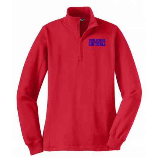 Softball Embroidered Sport-Tek Womens Qtr Zip Sweatshirt