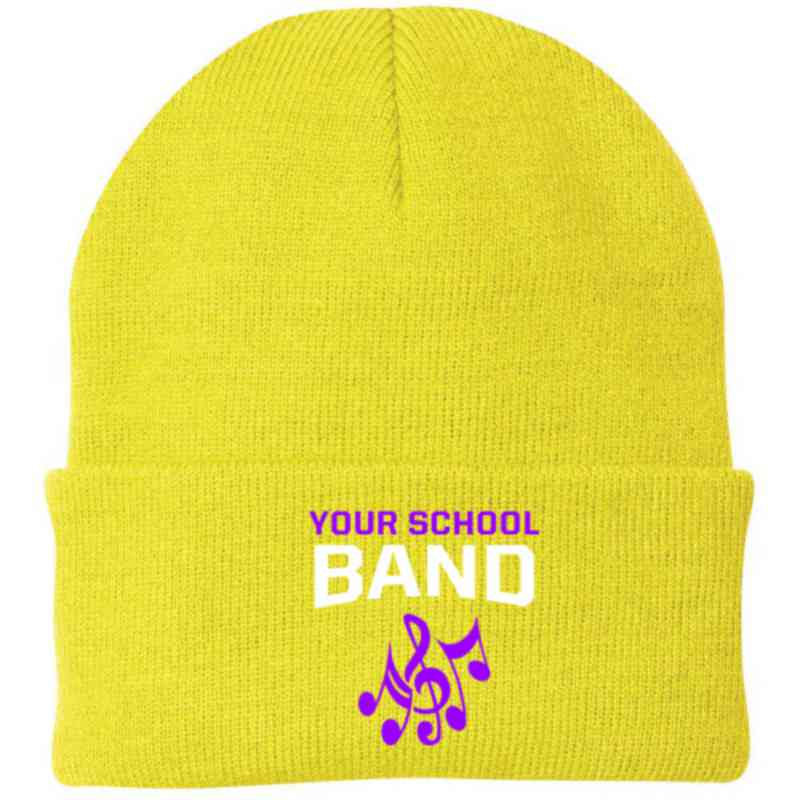 Band Embroidered Knit Folded Cuff Cap