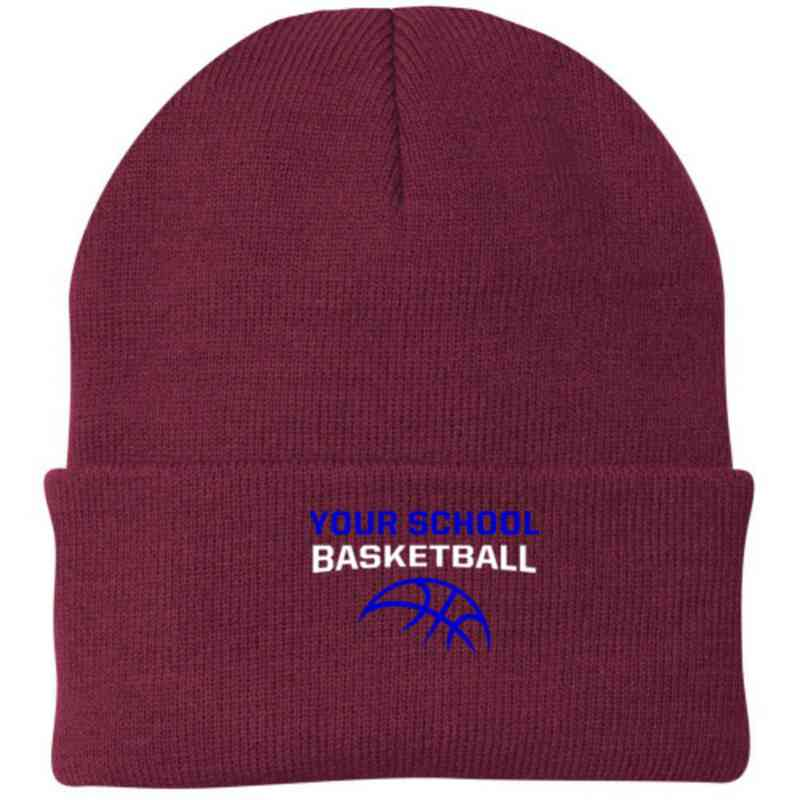 Basketball Embroidered Knit Folded Cuff Cap