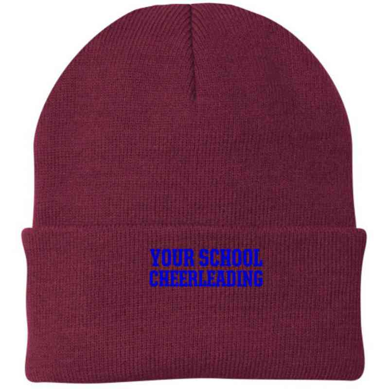 Cheerleading Embroidered Knit Folded Cuff Cap