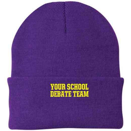 Debate Team Embroidered Knit Folded Cuff Cap