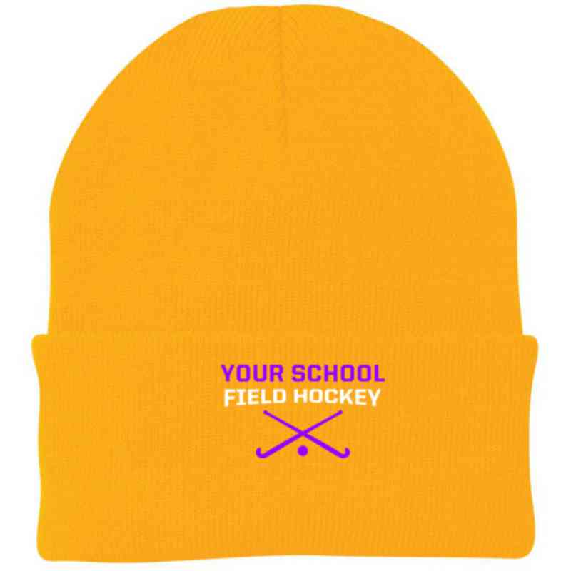 Field Hockey Embroidered Knit Folded Cuff Cap