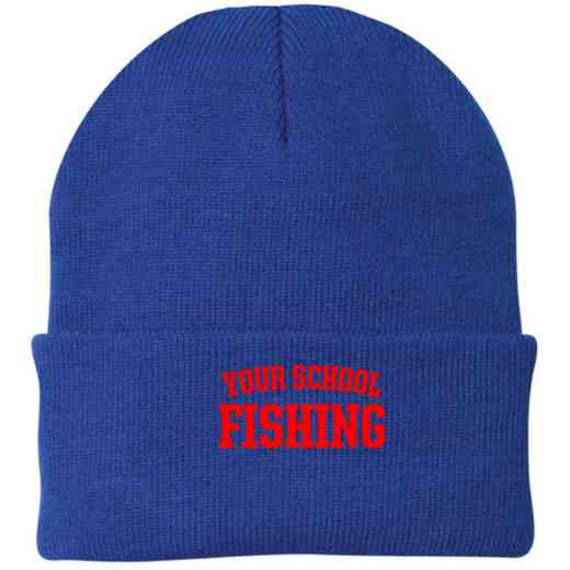 Fishing Embroidered Knit Folded Cuff Cap