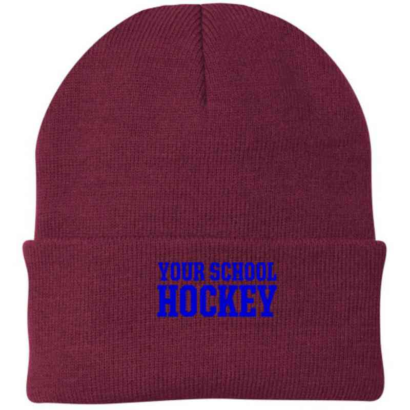 Hockey Embroidered Knit Folded Cuff Cap