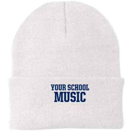 Music Embroidered Knit Folded Cuff Cap