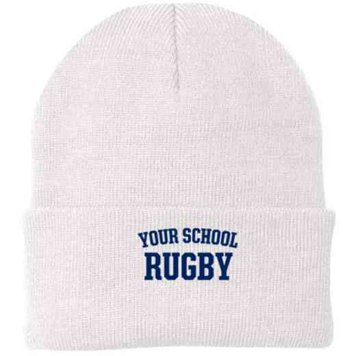 Rugby Embroidered Knit Folded Cuff Cap