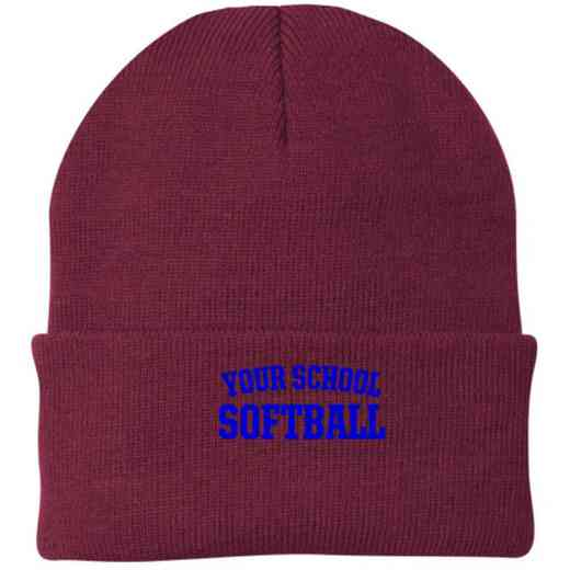 Softball Embroidered Knit Folded Cuff Cap