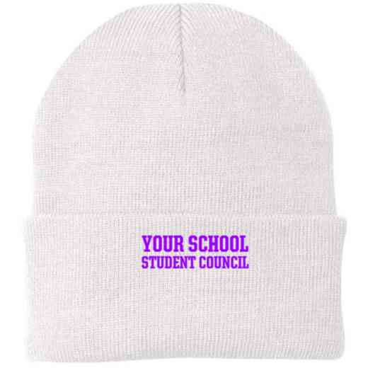 Student Council Embroidered Knit Folded Cuff Cap