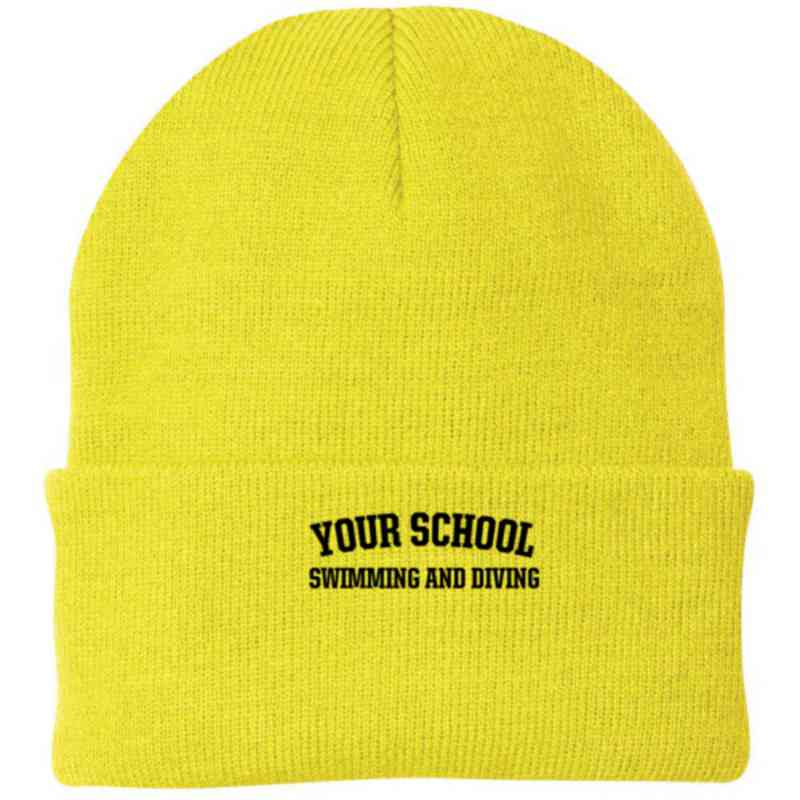 Swimming and Diving Embroidered Knit Folded Cuff Cap