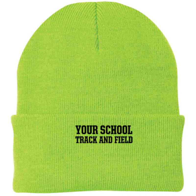 Track and Field Embroidered Knit Folded Cuff Cap