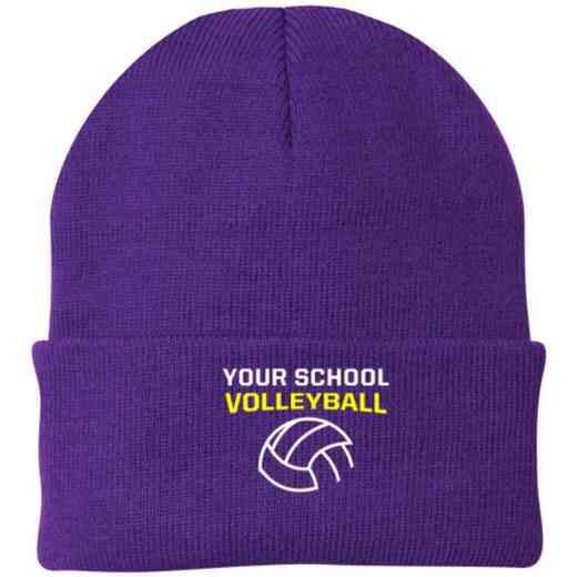 Volleyball  Embroidered Knit Folded Cuff Cap