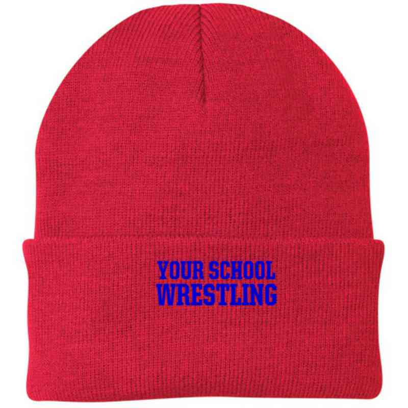 Wrestling Embroidered Knit Folded Cuff Cap