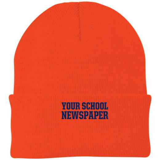 Newspaper Embroidered Knit Folded Cuff Cap