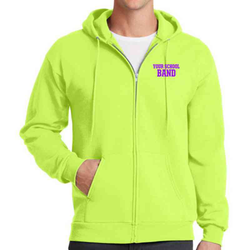 Band Embroidered Full Zip Hooded Sweatshirt